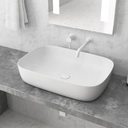 Lavabo da appoggio colore bianco opaco 60cm MIL-LB kamalu