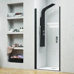 Porta doccia 85cm con telaio nero vetro trasparente NICO-C3000 kamalu - 1