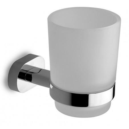 Bicchiere per spazzolini a muro ottone e vetro satinato modello OL-3457