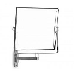Specchio ingranditore orientabile 20x20cm per alberghi finitura cromata SP-3591
