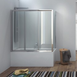 Sopravasca angolare 170x80cm cristallo clear P2000S