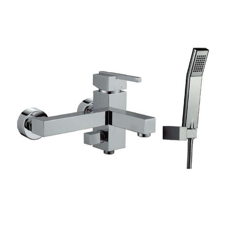 Miscelatore vasca con doccetta e supporto muro modello Zino-V ...