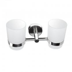 Portabicchiere doppio per bagno vetro e acciaio Kamalubagno.it