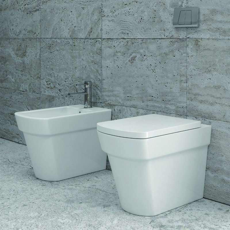 Vaso e didet a terra con sedile soft close modello Aten C kamalu bagno