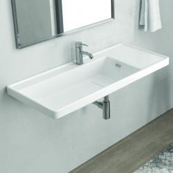 Lavabo sospeso in ceramica bianco lucido 100cm Litos-TT81