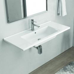 Lavabo bagno sospeso 100cm bianco lucido Litos-TN10