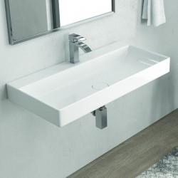 Lavabo bagno sospeso 90 cm copripiletta in ceramica Litos-ED90