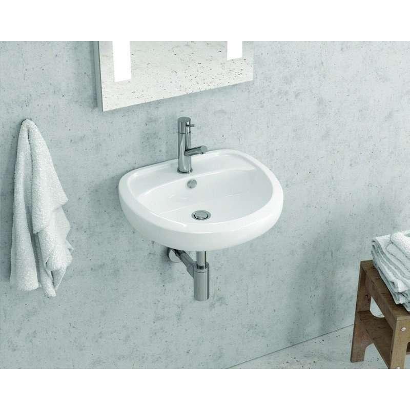Lavabo in ceramica sospeso monoforo Litos-348 kamalubagno