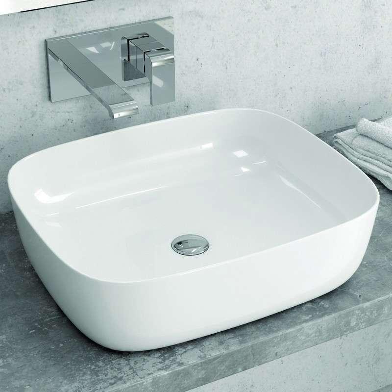 Lavabo appoggio 50cm ceramica slim kamalu