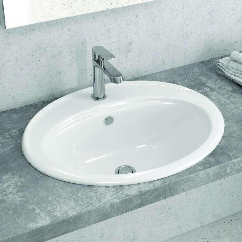 Lavabo da incasso soprapiano 56cm ceramica Litos-655 kamalu
