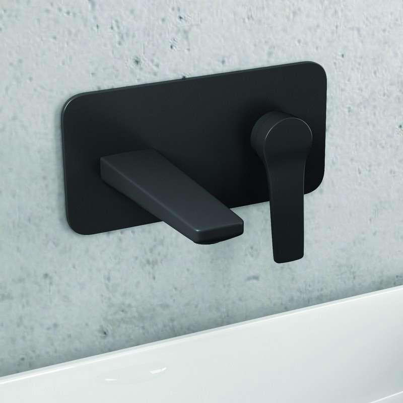 Rubinetto installazione a muro lavabo colore nero Kamalu